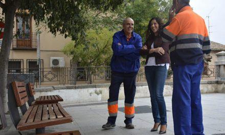 El Ayuntamiento actúa en el mobiliario urbano del Casco Histórico y renueva 53 bancos del paseo Virgen de Gracia y del Miradero