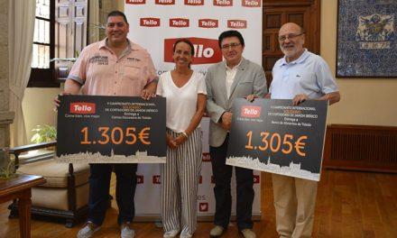 Ayuntamiento y Tello entregan al Banco de Alimentos y Cáritas los cheques solidarios del V Campeonato de Cortadores de Jamón